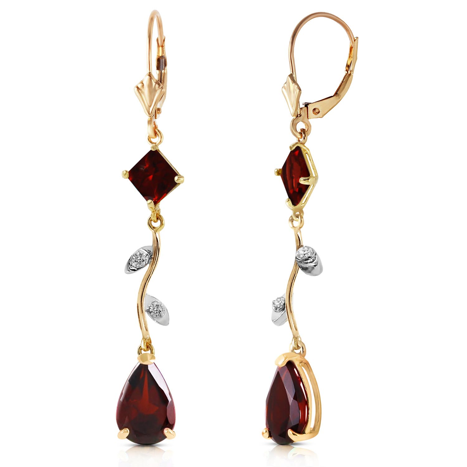 Garnet and Diamond Vine Branch Drop Earrings 3.95ctw in 9ct Gold