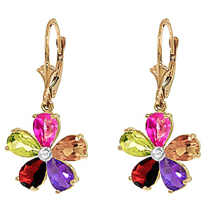 Gemstone and Diamond Flower Petal Drop Earrings 4.4ctw in 9ct Gold