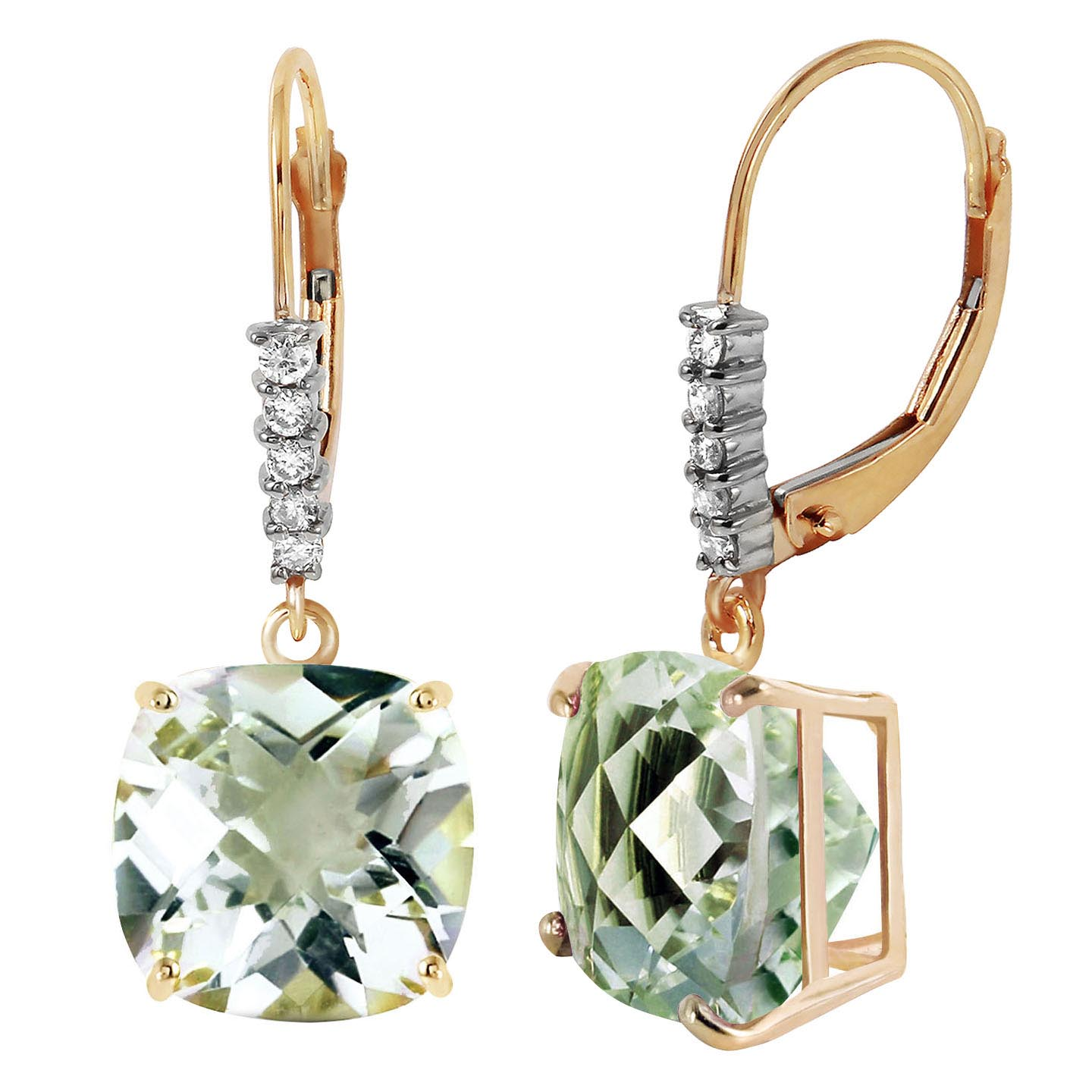 Green Amethyst and Diamond Rococo Drop Earrings 7.2ctw in 9ct Gold