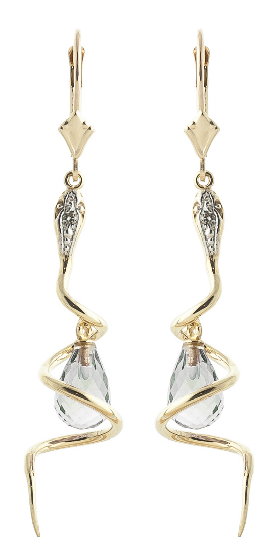 Green Amethyst and Diamond Serpent Earrings 4.5ctw in 9ct Gold
