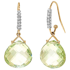 Green Amethyst and Diamond Stem Drop Earrings 17.0ctw in 9ct Gold