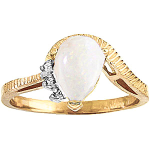 Opal and Diamond Belle Ring 0.77ct in 9ct Gold