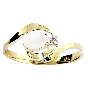 Opal and Diamond Flare Ring 0.25ct in 9ct Gold