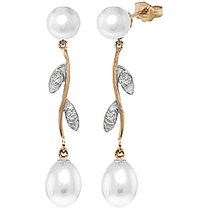 Pearl and Diamond Vine Branch Drop Earrings 10.0ctw in 9ct Gold