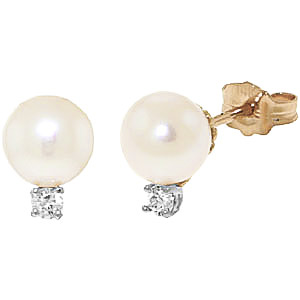 Pearl and Diamond Stud Earrings 4.0ctw in 9ct Gold