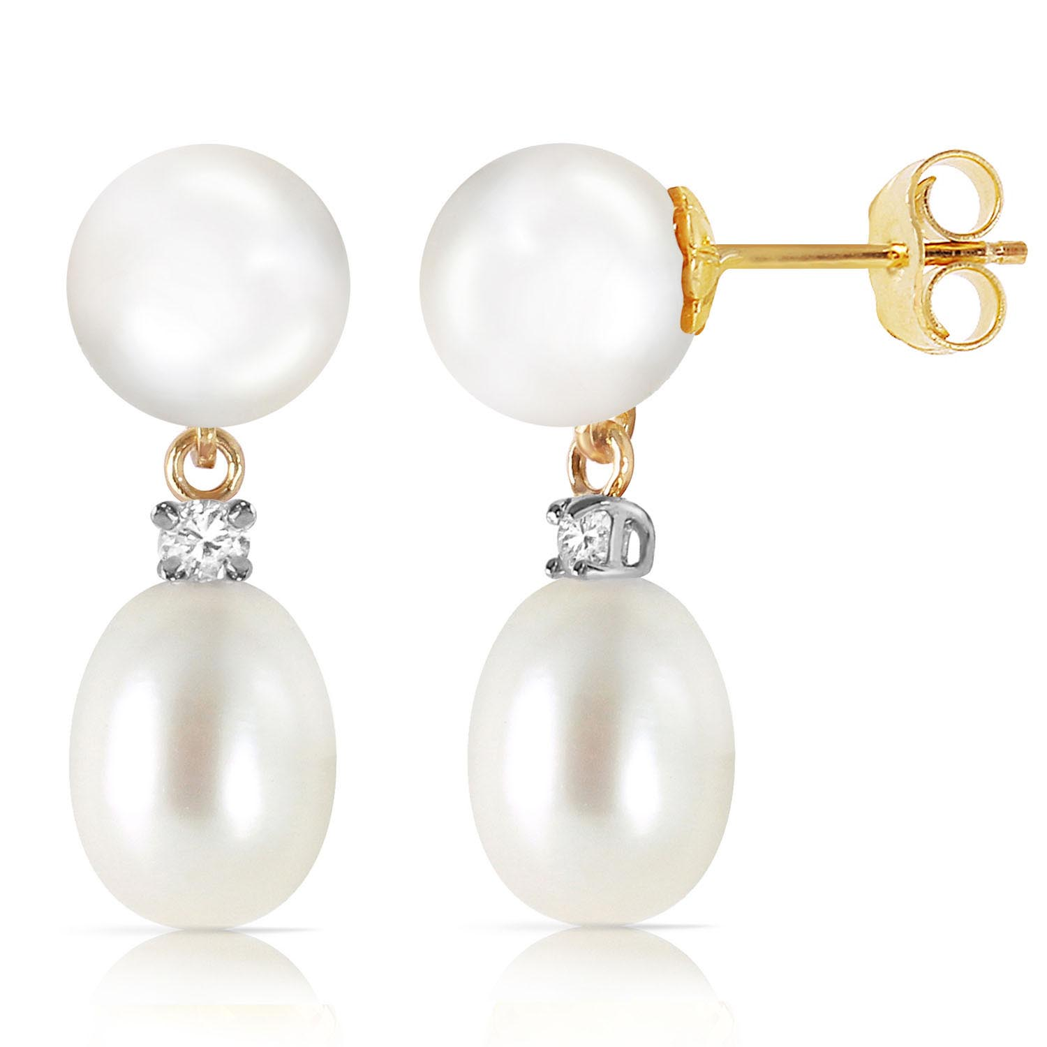 Pearl and Diamond Stud Earrings 10.0ctw in 9ct Gold