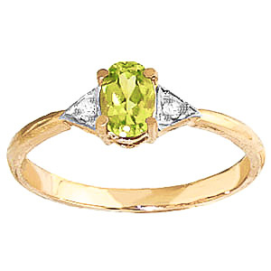 Peridot and Diamond Allure Ring 0.45ct in 9ct Gold