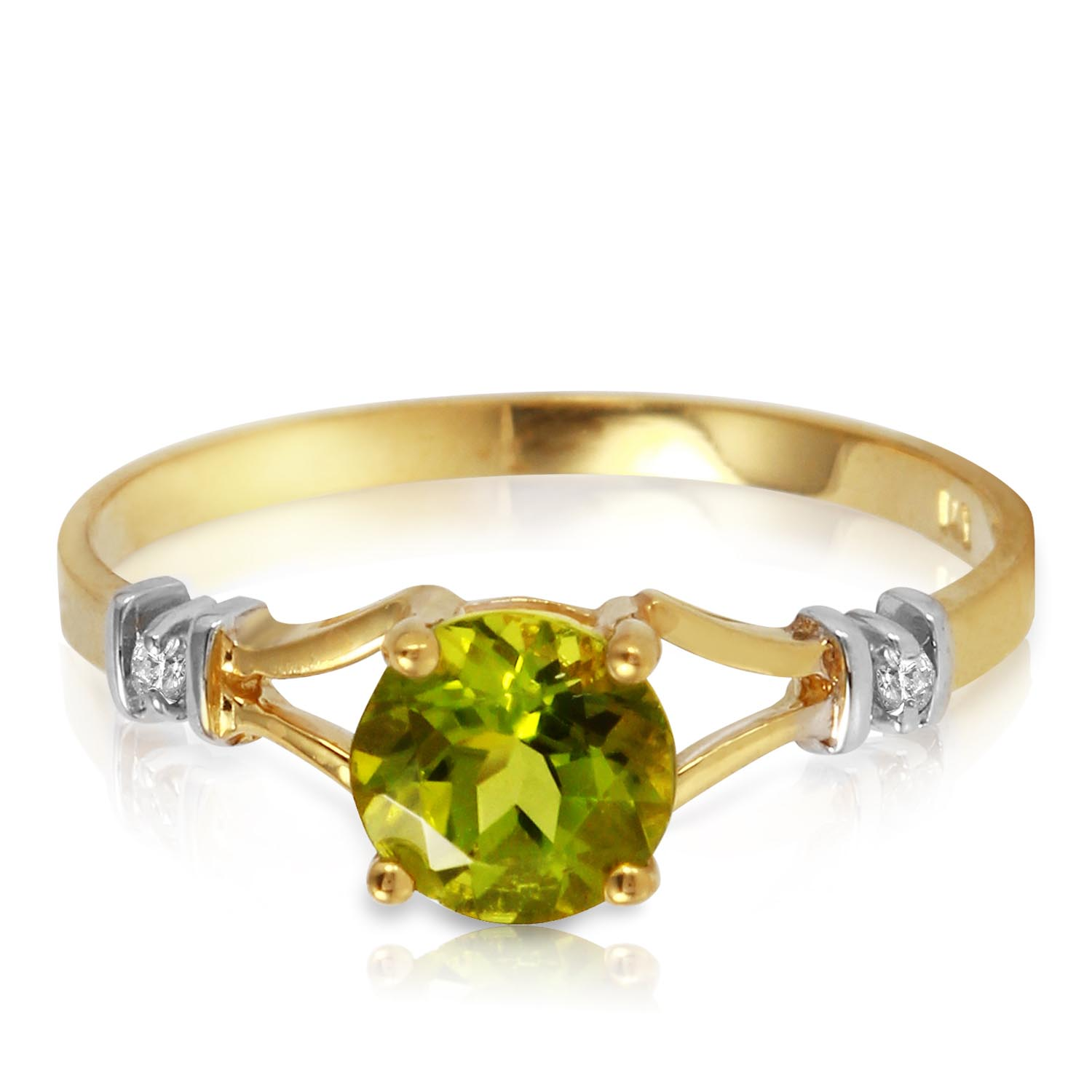 Peridot and Diamond Aspire Ring 0.85ct in 9ct Gold