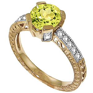 Peridot and Diamond Renaissance Ring 1.5ct in 9ct Gold