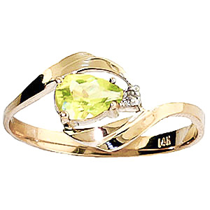Peridot and Diamond Flare Ring 0.5ct in 9ct Gold