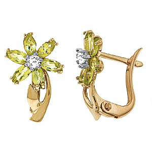 Peridot and Diamond Flower Petal Stud Earrings 1.0ctw in 9ct Gold