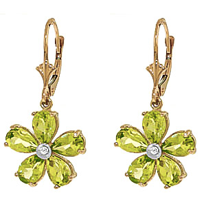 Peridot and Diamond Flower Petal Drop Earrings 4.4ctw in 9ct Gold