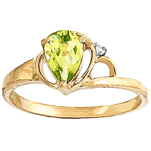Peridot and Diamond Ring 0.65ct in 9ct Gold