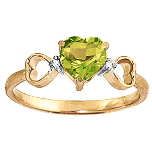 Peridot and Diamond Trinity Ring 0.6ct in 9ct Gold