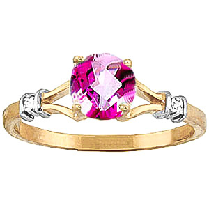 Pink Topaz and Diamond Aspire Ring 1.0ct in 9ct Gold