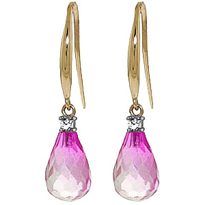 Pink Topaz and Diamond Drop Earrings 4.5ctw in 9ct Gold