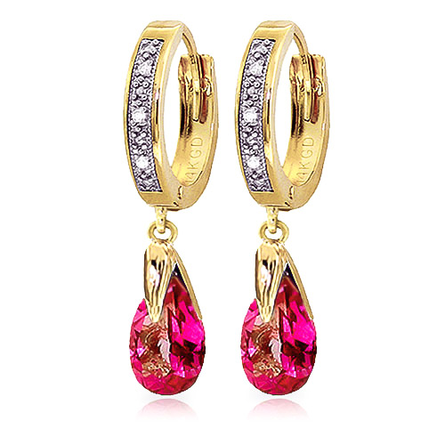Pink Topaz and Diamond Droplet Huggie Earrings 2.5ctw in 9ct Gold