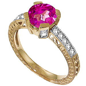 Pink Topaz and Diamond Renaissance Ring 1.5ct in 9ct Gold