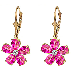 Pink Topaz and Diamond Flower Petal Drop Earrings 4.4ctw in 9ct Gold
