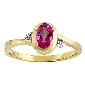Pink Topaz and Diamond Meridian Ring 0.5ct in 9ct Gold