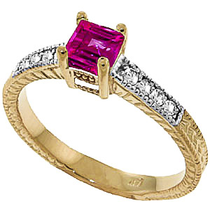 Pink Topaz and Diamond Shoulder Set Ring 0.5ct in 9ct Gold