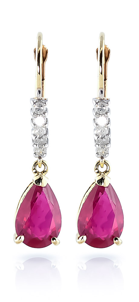 Ruby and Diamond Belle Drop Earrings 3.0ctw in 9ct Gold
