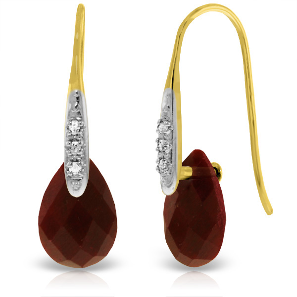 Ruby and Diamond Drop Earrings 8.0ctw in 9ct Gold