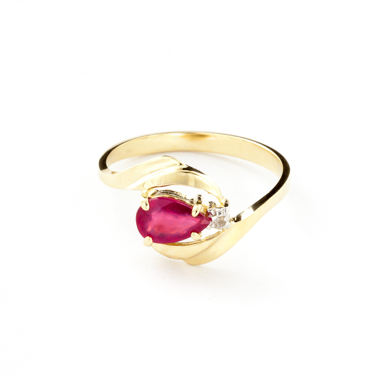 Ruby and Diamond Flare Ring 0.5ct in 9ct Gold