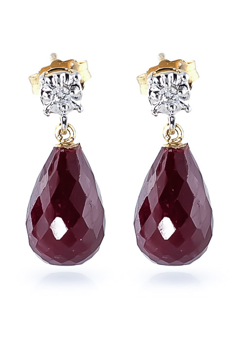 Ruby and Diamond Illusion Stud Earrings 17.6ctw in 9ct Gold