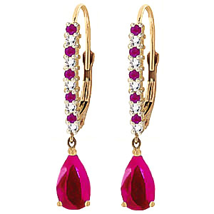 Ruby and Diamond Laced Stem Drop Earrings 3.2ctw in 9ct Gold