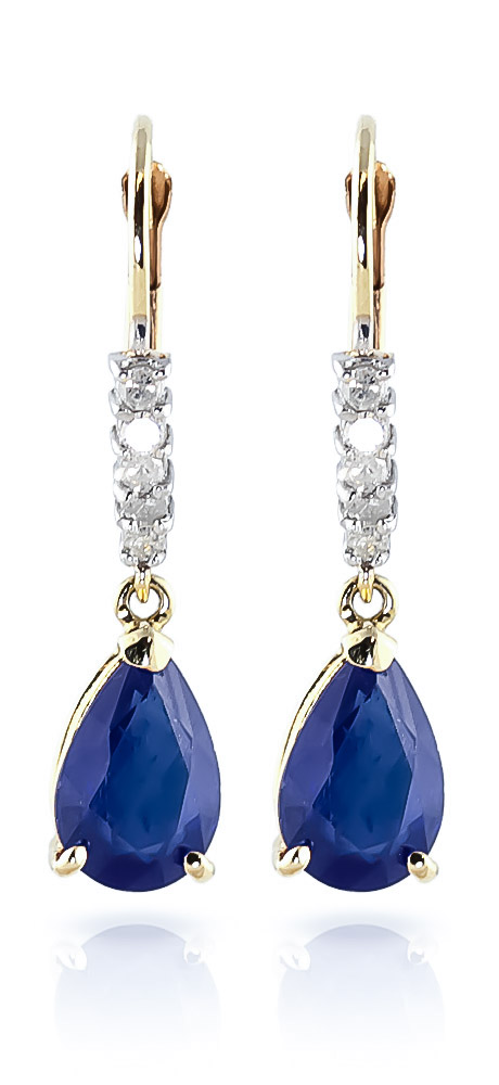 Sapphire and Diamond Belle Drop Earrings 3.0ctw in 9ct Gold