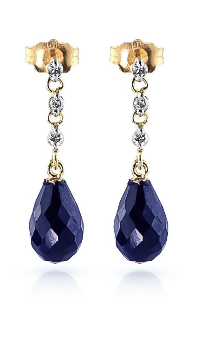 Sapphire and Diamond Chain Droplet Earrings 6.6ctw in 9ct Gold