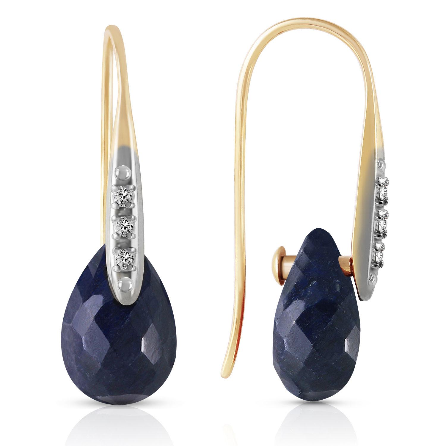 Sapphire and Diamond Drop Earrings 8.0ctw in 9ct Gold