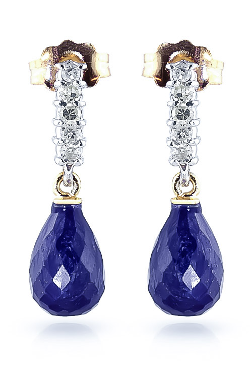 Sapphire and Diamond Stem Droplet Earrings 6.6ctw in 9ct Gold