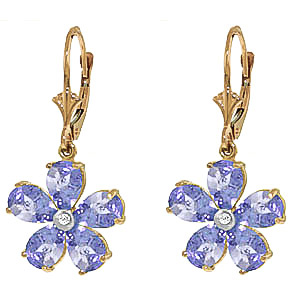 Tanzanite and Diamond Flower Petal Drop Earrings 4.4ctw in 9ct Gold