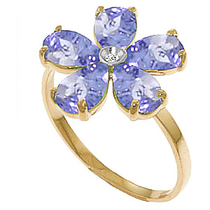 Tanzanite and Diamond Five Petal Ring 2.2ctw in 9ct Gold