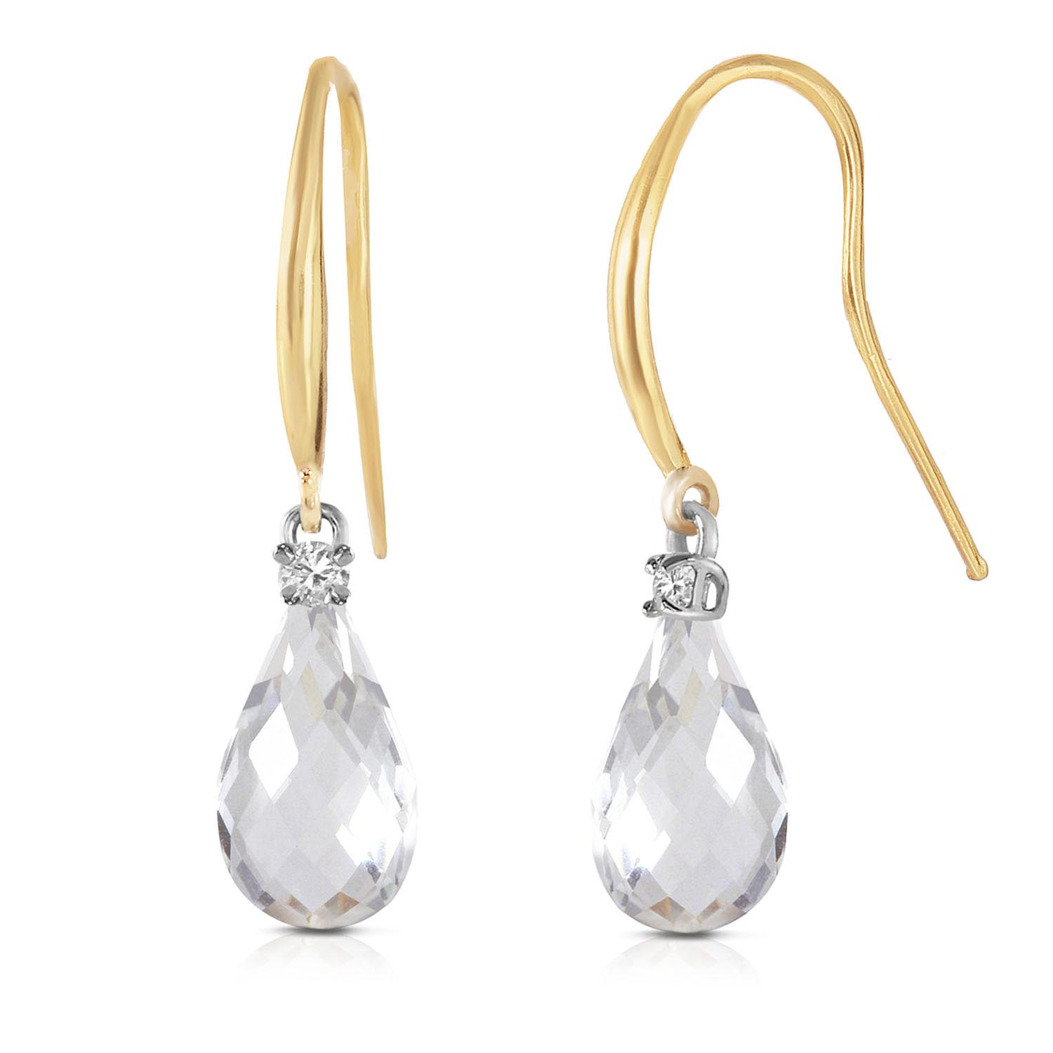 White Topaz and Diamond Drop Earrings 4.5ctw in 9ct Gold