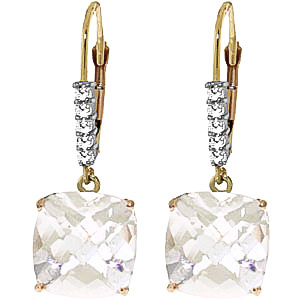 White Topaz and Diamond Rococo Drop Earrings 7.2ctw in 9ct Gold