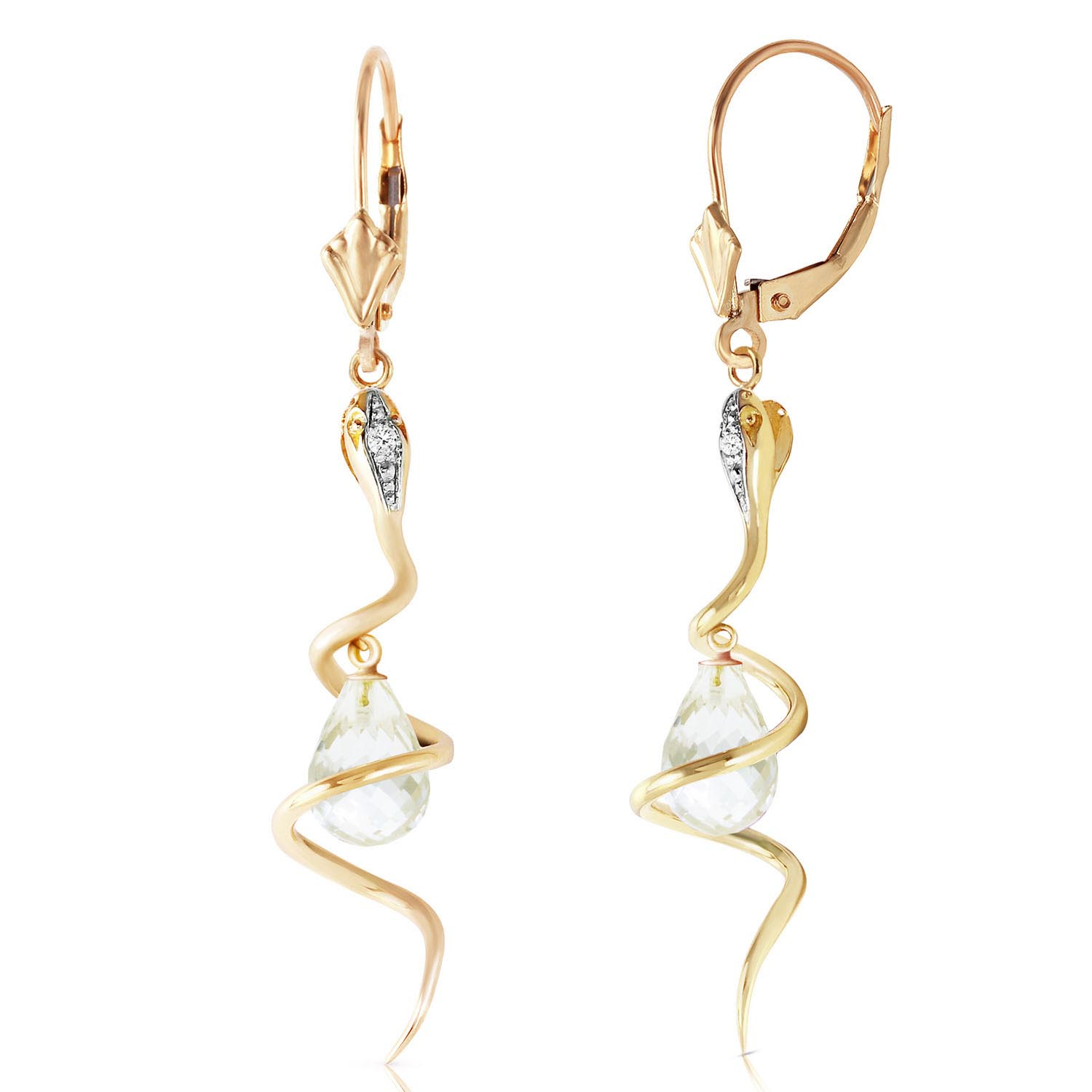 White Topaz and Diamond Serpent Earrings 4.5ctw in 9ct Gold