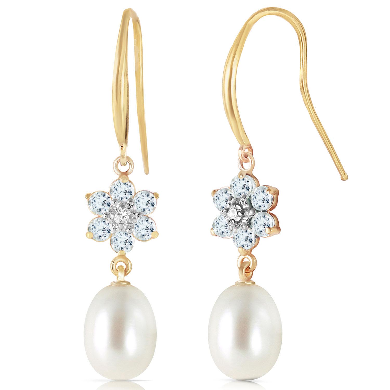 Pearl, Diamond and Aquamarine Daisy Chain Drop Earrings 8.95ctw in 9ct Gold