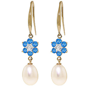 Pearl, Diamond and Blue Topaz Daisy Chain Drop Earrings 8.95ctw in 9ct Gold