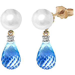 Pearl, Diamond and Blue Topaz Stud Earrings 6.5ctw in 9ct Gold