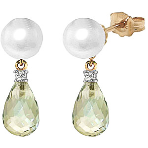 Pearl, Diamond and Green Amethyst Stud Earrings 6.5ctw in 9ct Gold