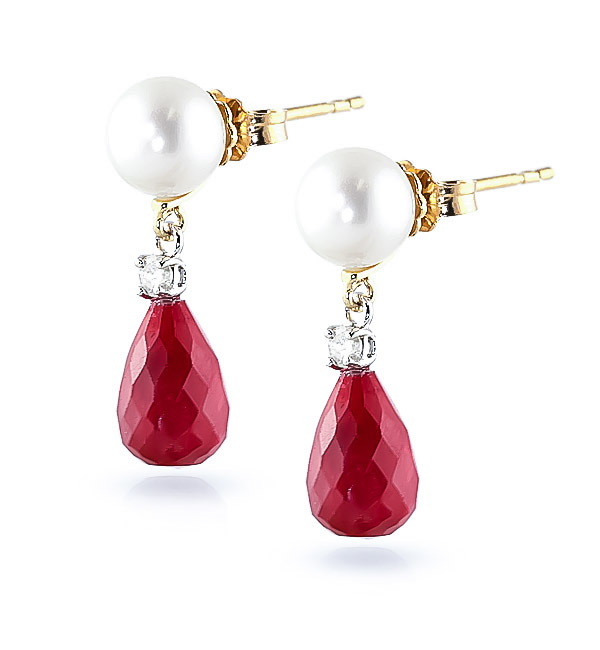 Ruby, Diamond and Pearl Drop Earrings 8.6ctw in 9ct Gold