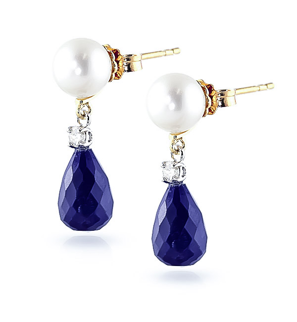 Sapphire, Diamond and Pearl Drop Earrings 8.6ctw in 9ct Gold