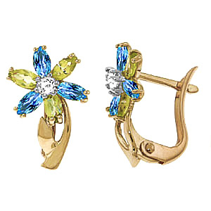 Blue Topaz, Diamond and Peridot Flower Petal Stud Earrings 1.0ctw in 9ct Gold