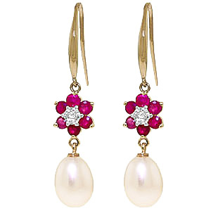Pearl, Diamond and Ruby Daisy Chain Drop Earrings 8.95ctw in 9ct Gold