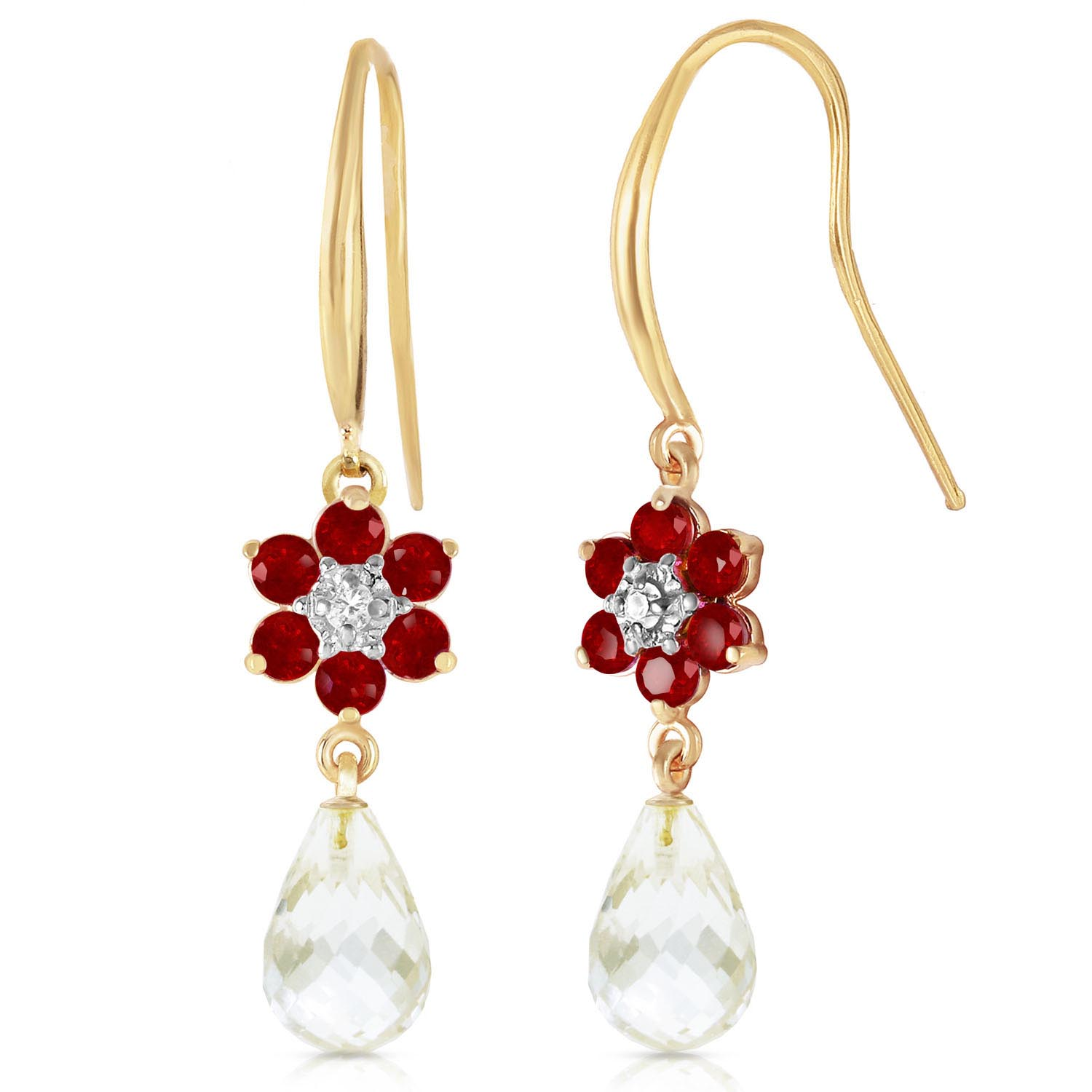 White Topaz, Diamond and Ruby Daisy Chain Drop Earrings 5.45ctw in 9ct Gold