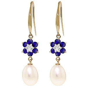 Pearl, Diamond and Sapphire Daisy Chain Drop Earrings 8.95ctw in 9ct Gold