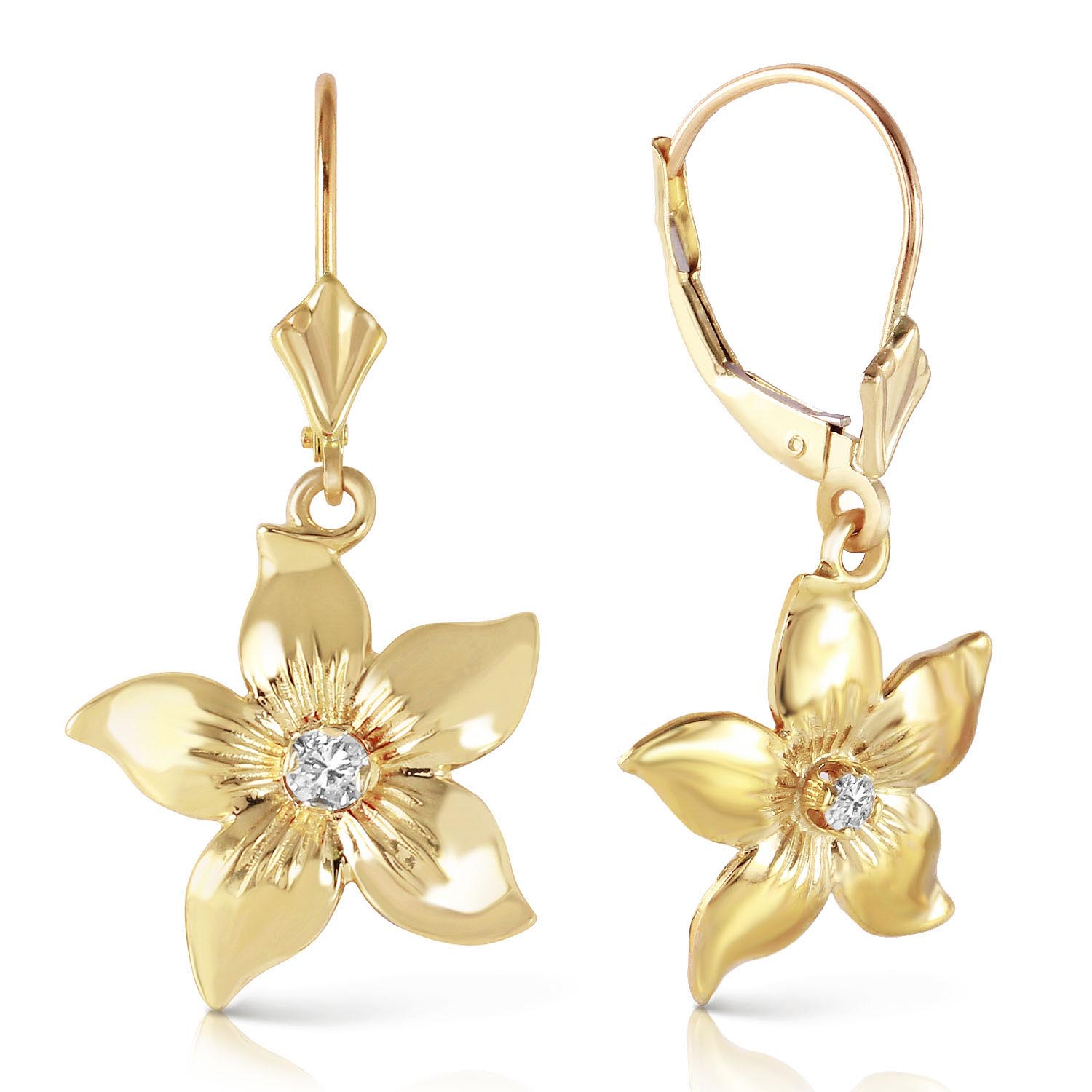 Diamond Flower Star Drop Earrings in 9ct Gold